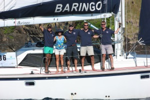 delighted crew having crossed finishing line after 19 days at sea.