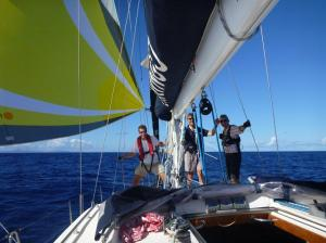 Happy crew approaching St Lucia