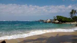 boulder strewn beach Tayrona