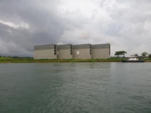 on way to Gatun locks passed gates for the new canal extension- huge