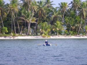 Jeremy rowing ashore