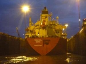 ship in Gatun lock with us-from HK