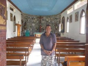 Holler the driver in red roofed church- notice the lovely painted sky ceiling