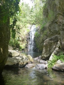 waterfall with pool
