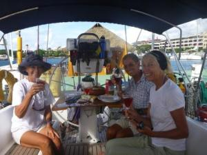 celebratory lunch after arrival in papeete- the end of  our journey from Ecuador to Tahiti