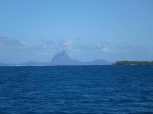Bora bora island in the distance