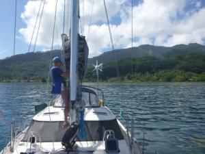 Julia repairing mainsail.