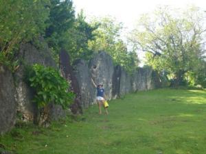 Marae wall behind the church- a bit inconsiderate of Church builders!