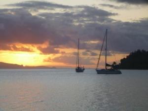 Avea anchorage at sunset