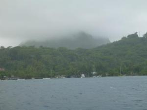 Borabora yacht club in bad weather- a bit different!