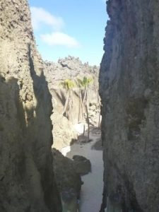 coral chasm with inland beach