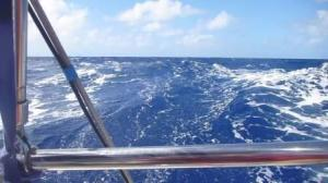 downhill sailing- wake at 8 knots