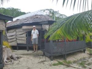 beach fale with sides down