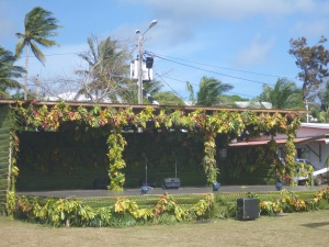 stage decorated with leaves for show.