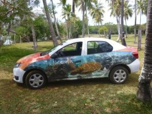 car hired on Iles de Pines-colourful