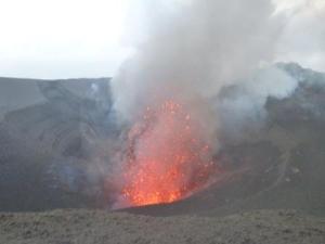 volcano erupting.